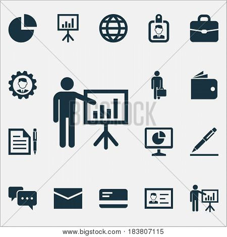Business Icons Set. Collection Of Leader, Envelope, Pie Bar And Other Elements. Also Includes Symbols Such As Billfold, Card, Pie.
