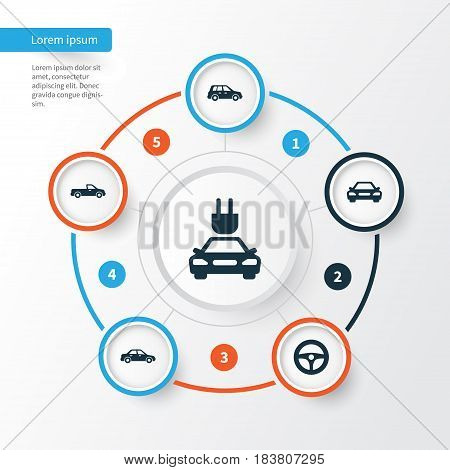 Automobile Icons Set. Collection Of Plug, Carriage, Drive Control And Other Elements. Also Includes Symbols Such As Sedan, Crossover, Wheel.
