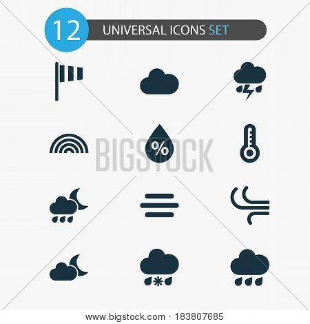 Weather Icons Set. Collection Of Breeze, Flag, Temperature And Other Elements. Also Includes Symbols Such As Moonlight, Hot, Flash.
