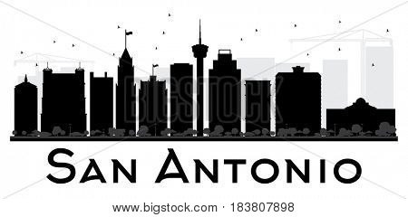 San Antonio City skyline black and white silhouette. Simple flat concept for tourism presentation, banner, placard or web site. Cityscape with landmarks.