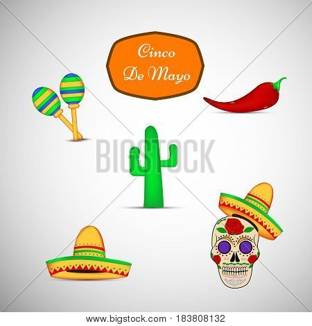 Illustration of set of elements of chili Pepper maracas cactus and Mexican skull in sombrero with cinco de mayo text