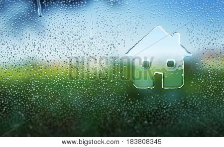 Water drop forming a house icon - 3D Rendering