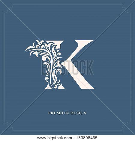 Vector illustration of Elegant letter K. Graceful royal style. Calligraphic beautiful logo. Vintage drawn emblem for book design brand name business card Restaurant Boutique Hotel.