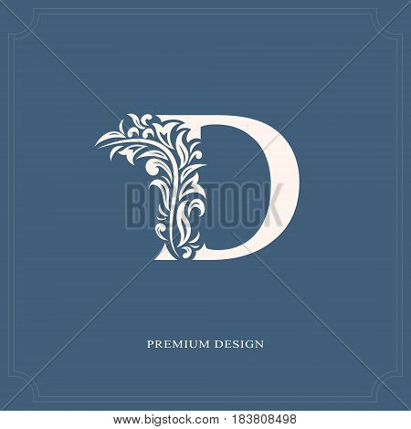 Vector illustration of Elegant letter D. Graceful royal style. Calligraphic beautiful logo. Vintage drawn emblem for book design brand name business card Restaurant Boutique Hotel.