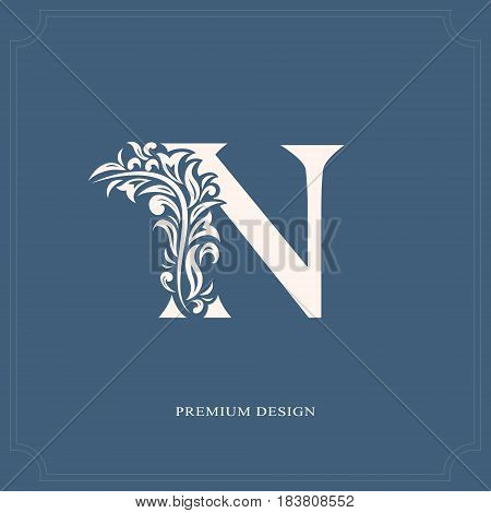 Vector illustration of Elegant letter N. Graceful royal style. Calligraphic beautiful logo. Vintage drawn emblem for book design brand name business card Restaurant Boutique Hotel.