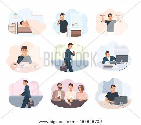 Concept everyday routine. Set of images schedule working day business man. Employment of young office worker. Illustrations in flat style