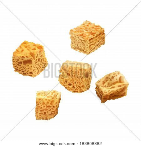 Vector realistic illustration of crackers. Colorful crispy croutons.