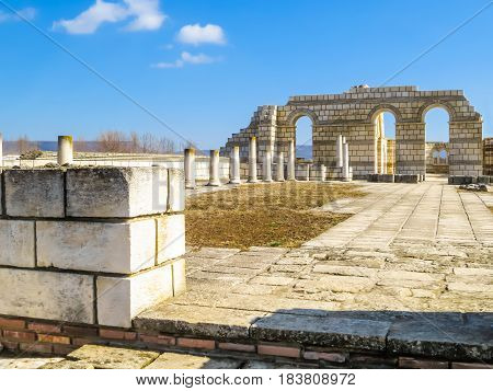 The Great Basilica at the Outer Town of Pliska the first Bulgarian capital partial reconstruction. Bulgaria