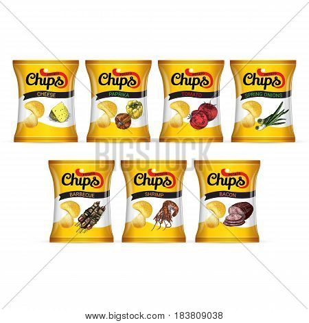 Potato chips package. Vector realistic illustration potato chips in pack.