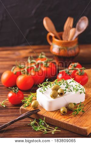 Greek Cheese Feta With Thyme And Green Olives