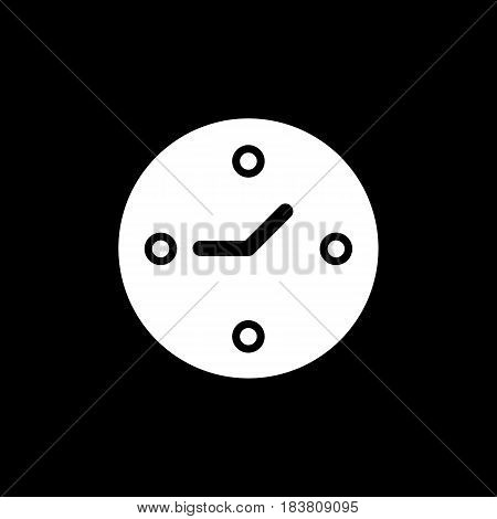 Clock vector icon. Line style on black background. eps 10