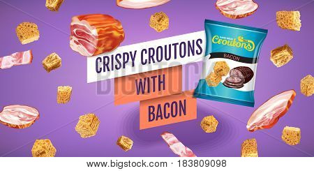 Crispy croutons ads. Vector realistic illustration of croutons with bacon. Horisontal banner with product.