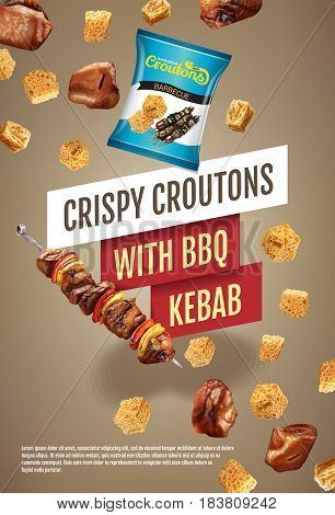 Crispy croutons ads. Vector realistic illustration of croutons with BBQ kebab. Vertical poster with product.