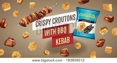 Crispy croutons ads. Vector realistic illustration of croutons with BBQ kebab. Horisontal banner with product.
