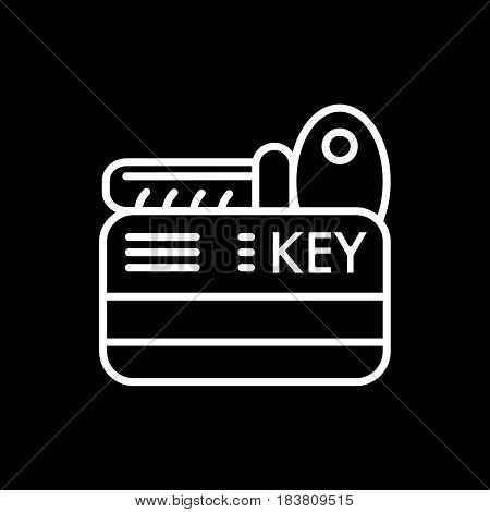 hotel key vector icon. Isolated on black. Outline style. eps 10