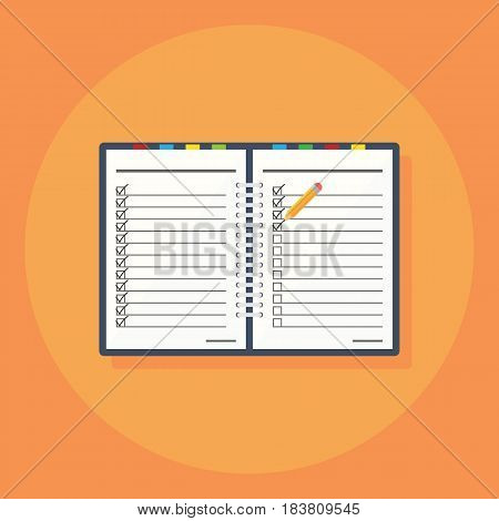 Notebook in a flat style icon isolated on background. Vector illustration. Eps 10.