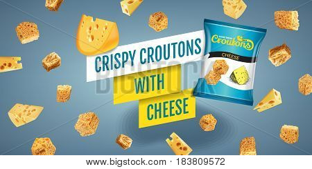 Crispy croutons ads. Vector realistic illustration of croutons with cheese. Horisontal banner with product.