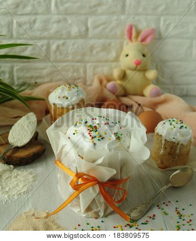 Colorful still lifes with pastries. Easter Bunny. Bakery products. Sweet pastries. Festive pastry. Beautiful still lifes with baking.