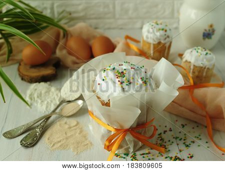 Festive Easter baking. Easter. Bakery products. Sweet pastries. Festive pastry. Beautiful still lifes with baking.