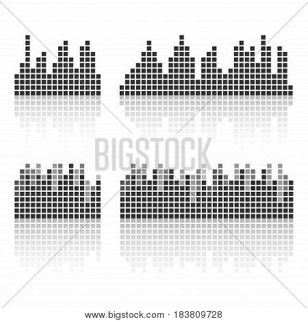 Square sound waveforms. Music waves logo for sound studio template for ui musical equipment vst. Vector illustration