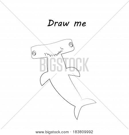 Draw me - vector illustration of sea animals. The hammerhead shark coloring game for children