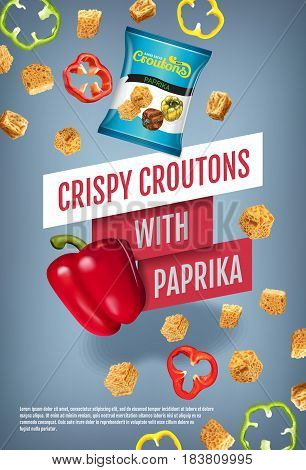 Crispy croutons ads. Vector realistic illustration of croutons with paprika. Vertical poster with product.