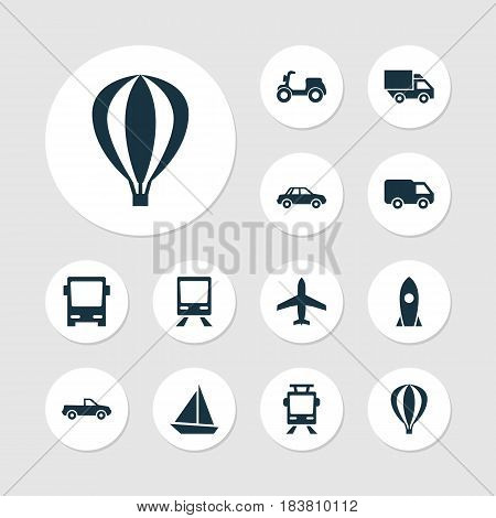 Transportation Icons Set. Collection Of Streetcar, Skooter, Cabriolet And Other Elements. Also Includes Symbols Such As Sail, Camion, Air.