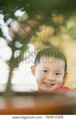 Chinese boy smiling