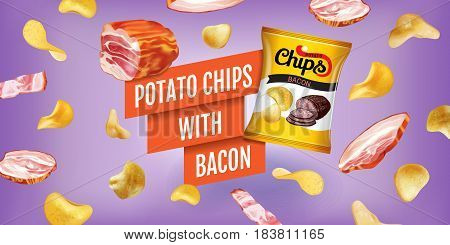 Potato chips ads. Vector realistic illustration of potato chips with bacon. Horizontal banner with product.
