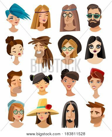 Set of male and female avatars in cartoon style including hippie punk hipster goth isolated vector illustration