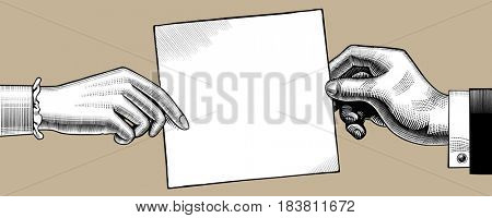 Vintage drawing of hands man and woman with a paper sheet. Retro concept poster and banner