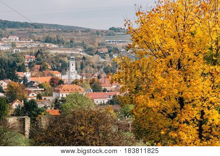 The village of Devin and the church of the Holy Cross as seen from the hills around Devin Castle.