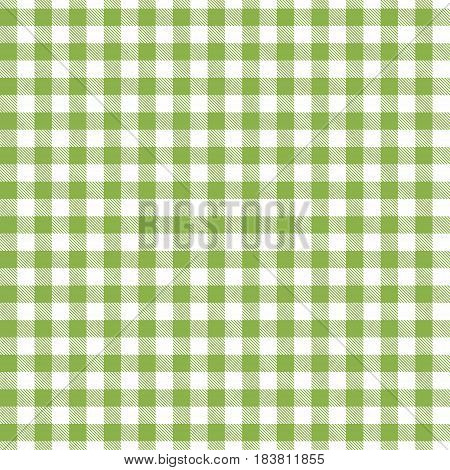 Green seamless Gingham and Buffalo Check Plaid pattern. Tablecloths fabric texture stamp for apparel gift wrapping paper sleepwear pillow shirt and other textile products. Vector illustration