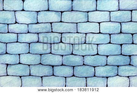 Hand drawn watercolor wall made of blue bricks background