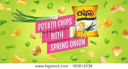 Potato chips ads. Vector realistic illustration of potato chips with spring onion. Horizontal banner with product.