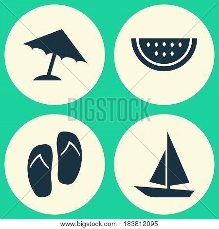 Season Icons Set. Collection Of Melon, Forceps, Ship And Other Elements. Also Includes Symbols Such As Citrus, Boat, Umbrella.
