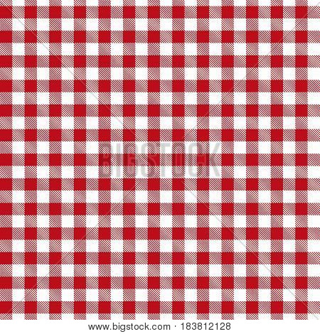 Red seamless Gingham and Buffalo Check Plaid pattern. Tablecloths fabric texture stamp for apparel gift wrapping paper sleepwear pillow shirt and other textile products. Vector illustration