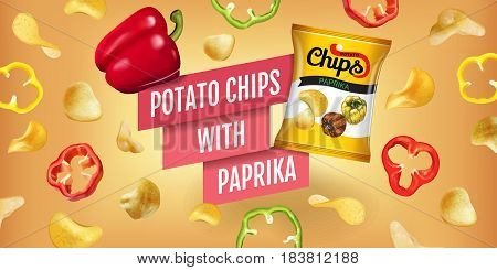Potato chips ads. Vector realistic illustration of potato chips with paprika.