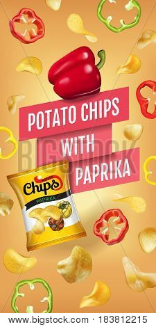Potato chips ads. Vector realistic illustration of potato chips with paprika. Vertical banner with product.