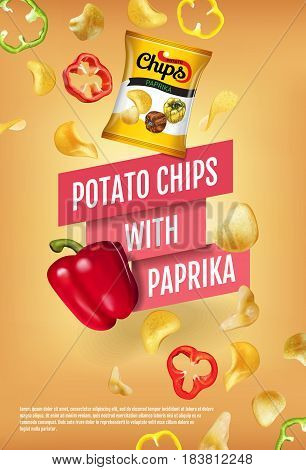 Potato chips ads. Vector realistic illustration of potato chips with paprika. Vertical poster with product.