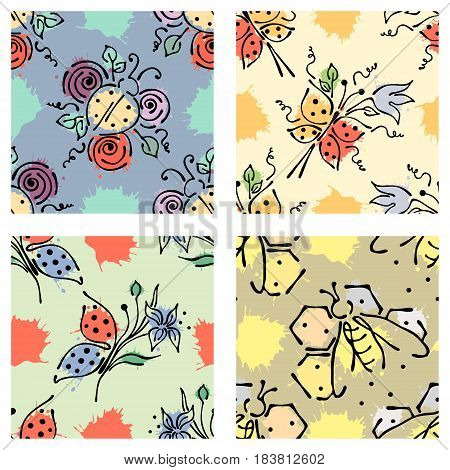 Vector Seamless Floral Pattern With Butterfly Flowers, Leaves, Decorative Elements, Splash, Blots, D
