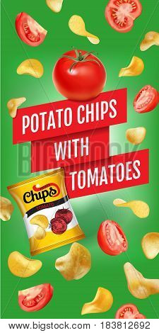 Potato chips ads. Vector realistic illustration of potato chips with tomatoes. Vertical banner with product.