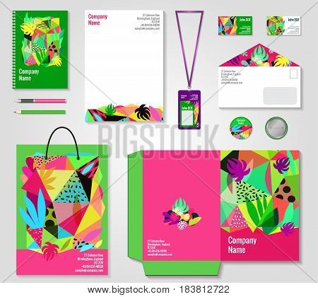 Floral corporate identity bright colorful modern templates collection with badge bag pen and documents folder vector illustration
