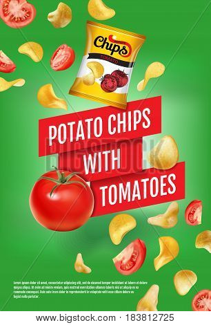 Potato chips ads. Vector realistic illustration of potato chips with tomatoes. Vertical poster with product.
