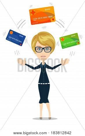 Business woman choosing which credit card to pay with.. Stock vector illustration for poster, greeting card, website, ad, business presentation, advertisement design.