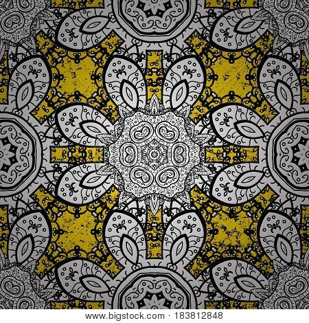 Classic vector ornamental pattern. Traditional orient ornament. Classic vintage background. Pattern on yellow background with ornamental elements.