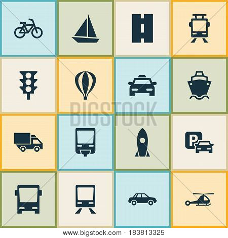 Transport Icons Set. Collection Of Chopper, Stoplight, Streetcar And Other Elements. Also Includes Symbols Such As Railroad, Rocket, Trolley.