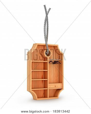empty wooden wardrobe in shape of label 3d illustration. Clothing sale concept