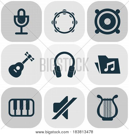Audio Icons Set. Collection Of Lyre, Earphone, Instrument And Other Elements. Also Includes Symbols Such As Mike, Lyre, Silent.
