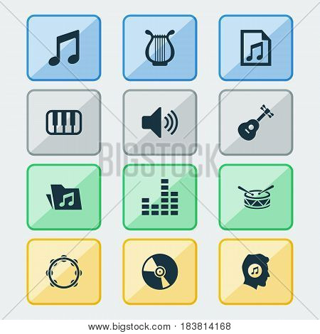 Audio Icons Set. Collection Of Timbrel, File, Meloman And Other Elements. Also Includes Symbols Such As Lover, Percussion, Barrel.